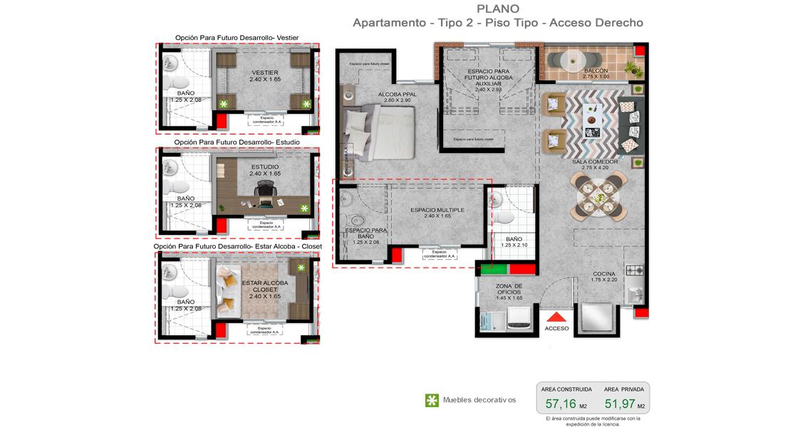 Rioja plano de apartamento tipo 57