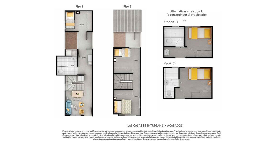 Plano de casa tipo 58 nuevo proyecto de casas en cartagena.
