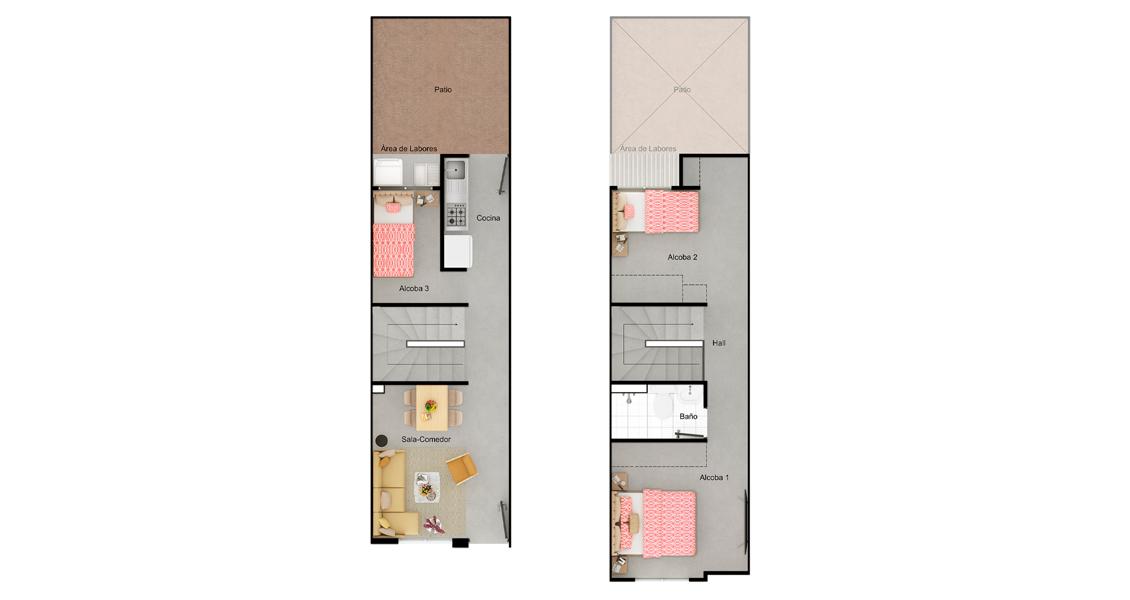 Plano de casa tipo 55 nuevo proyecto de casas en cartagena.