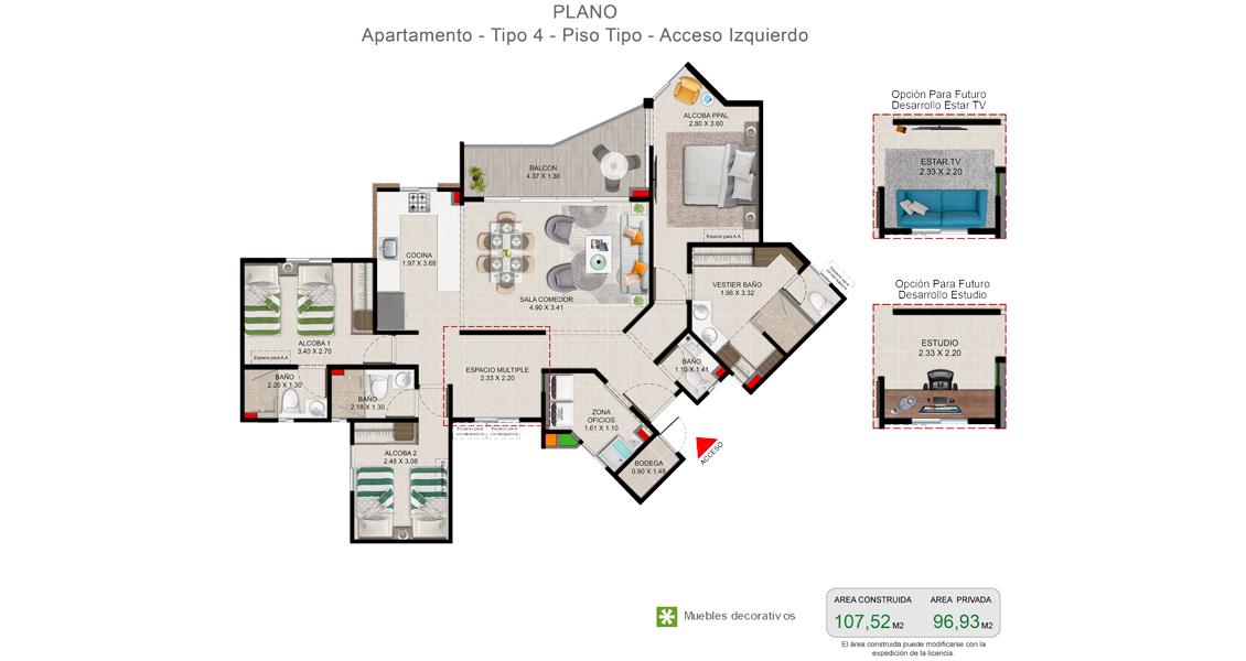 Portobelo planta apartamento Vivero parque Residencial Constructora Bolívar