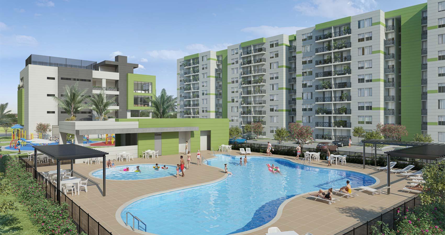 piscinas  Flora Proyecto de vivienda en Santa Marta, constructora Bolívar