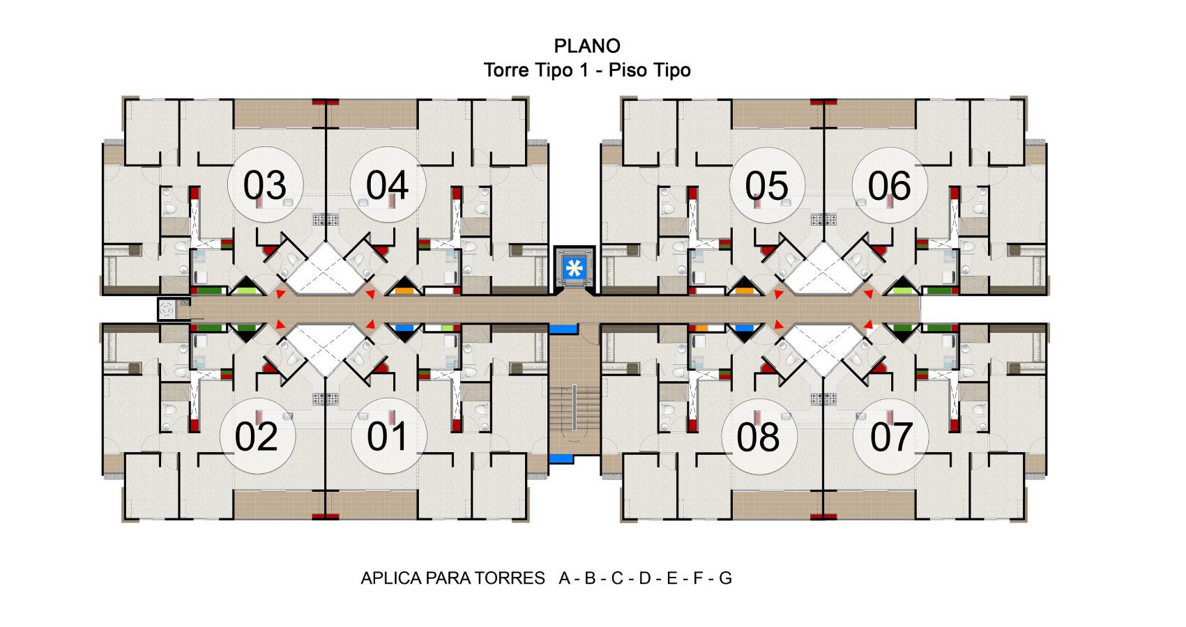 Plano Torre solé apartamentos jamundi Constructora Bolívar Valle del Cauca