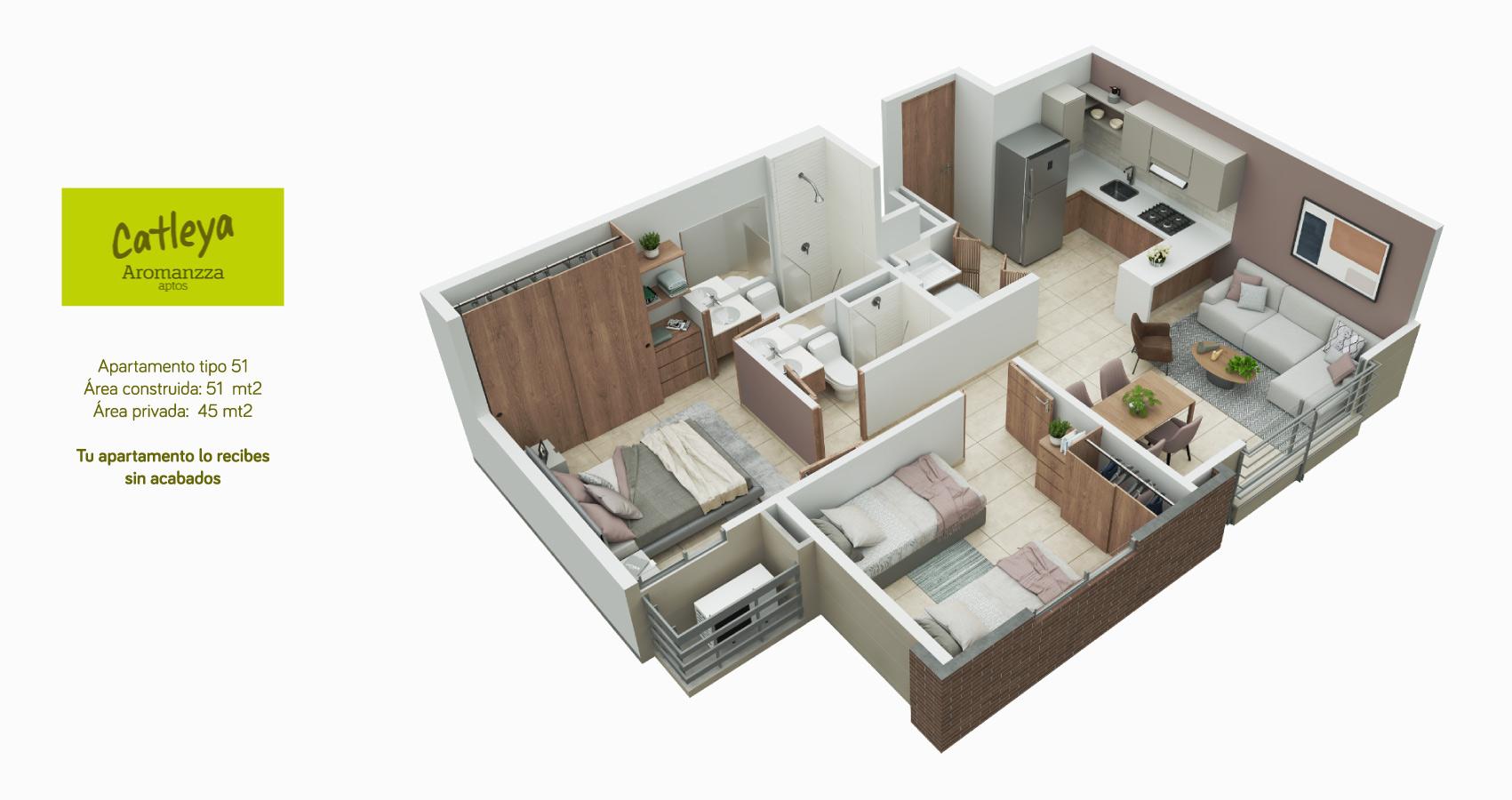 Apartamento tipo 51 Catleya - Aromanza