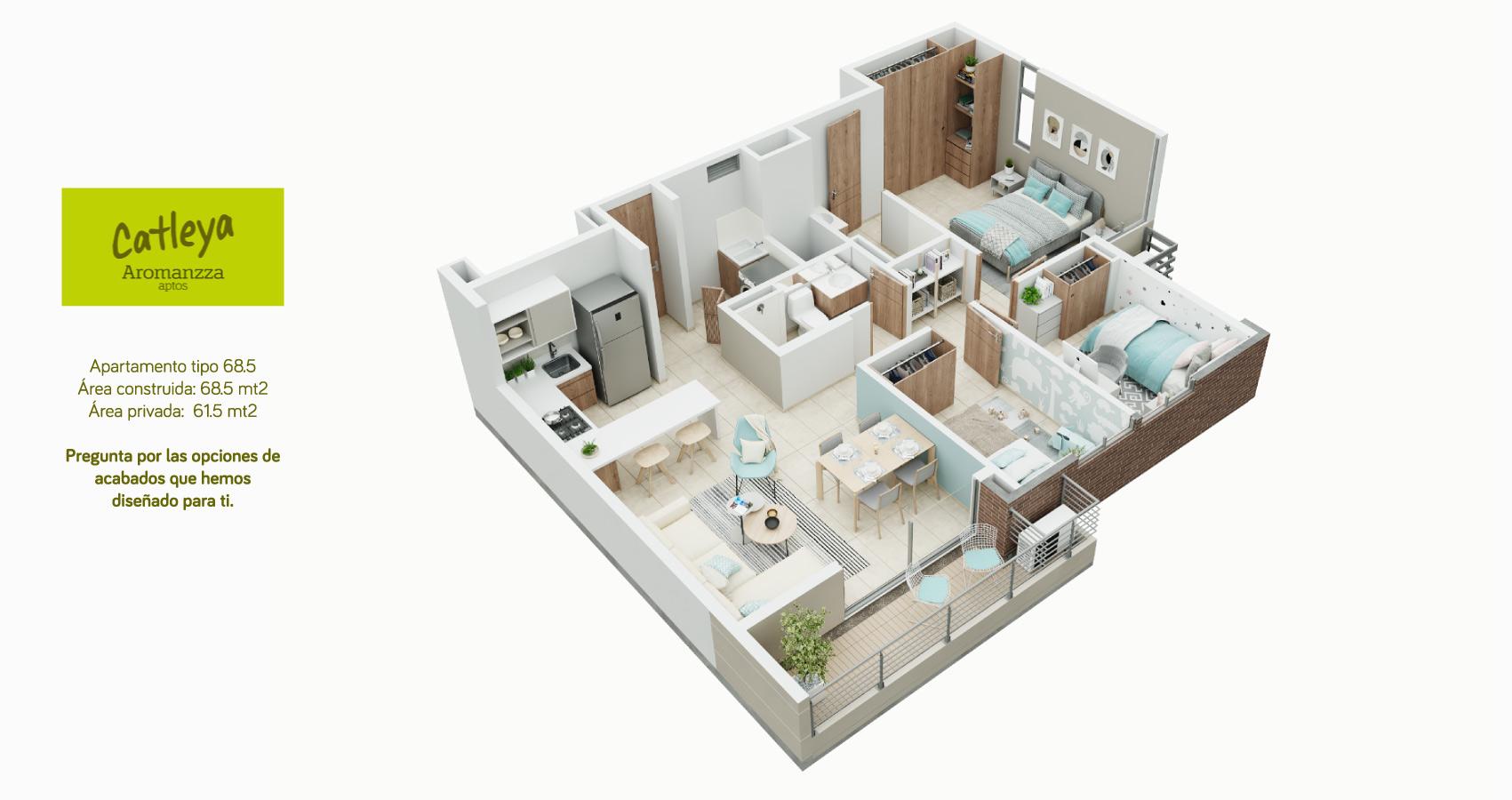 Apartamento tipo 68 Catleya - Aromanza