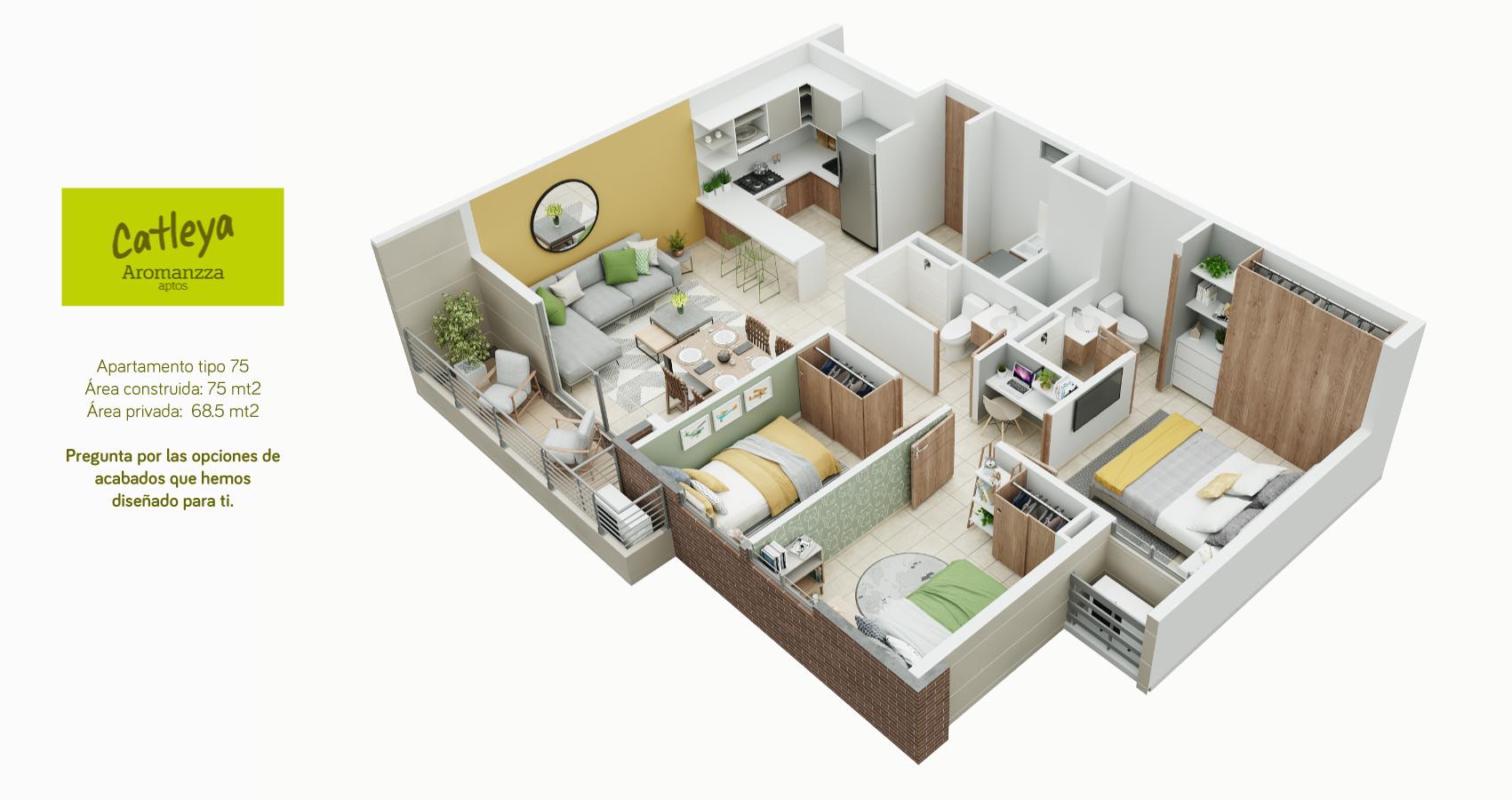 Apartamento tipo 75 Catleya - Aromanza