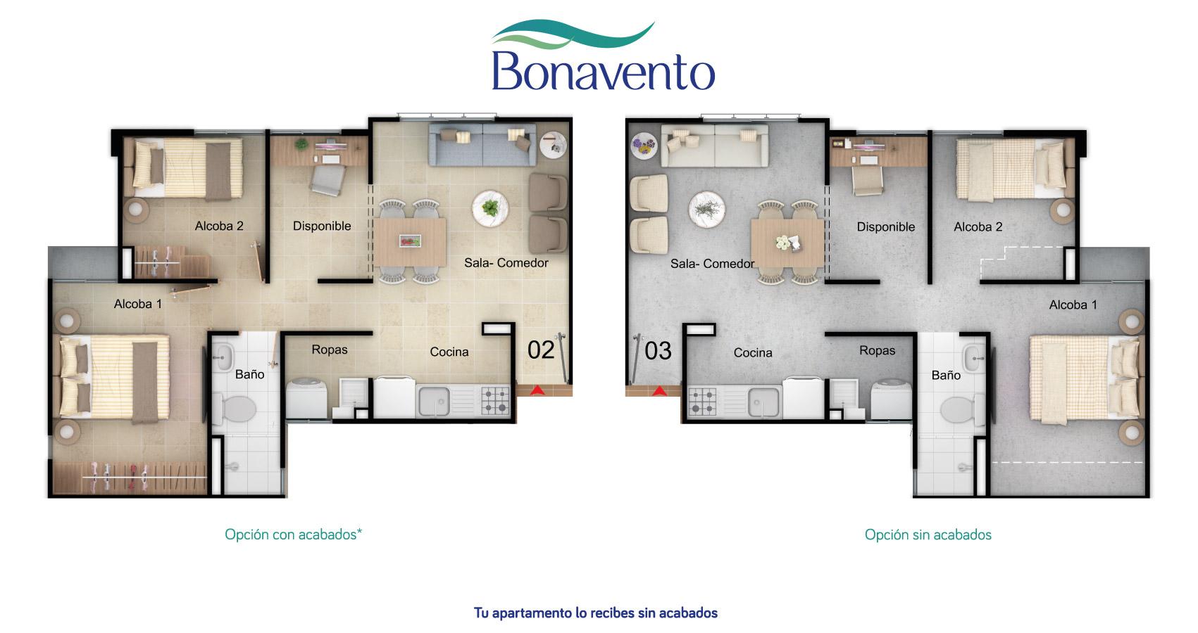 Bonavento apartamento tipo 46 constructora bolivar