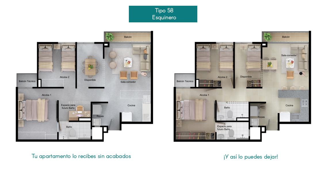 Apartamentos tipo 58 la  Flora Proyecto de vivienda en Santa Marta, constructora Bolívar