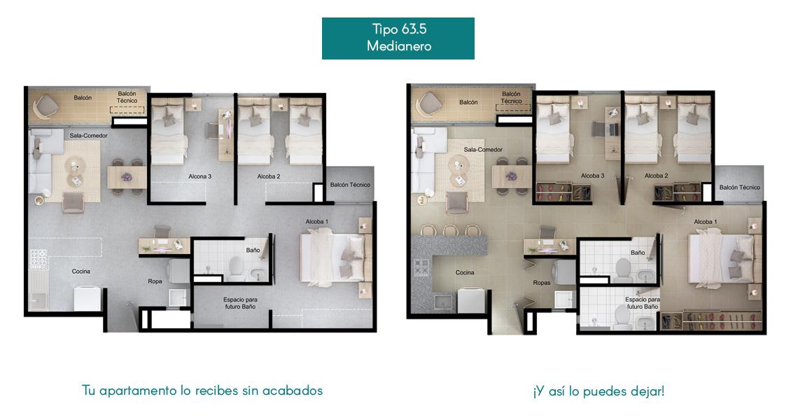 Apartamentos tipo 63.5 la  Flora Proyecto de vivienda en Santa Marta, constructora Bolívar