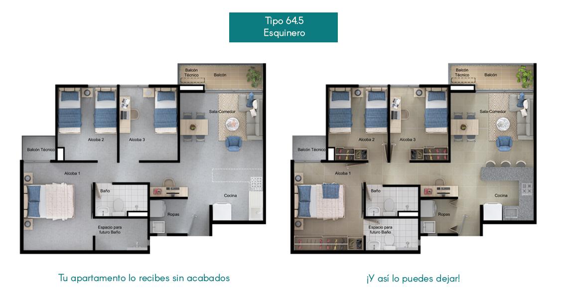 Apartamentos tipo 64.5 la  Flora Proyecto de vivienda en Santa Marta, constructora Bolívar