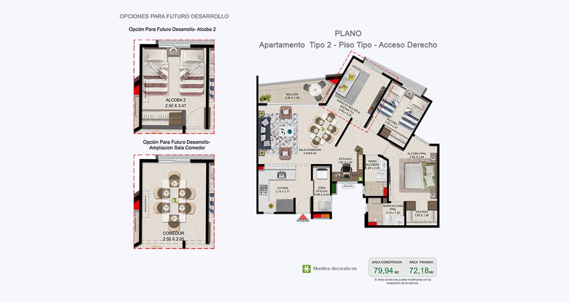 Treboles planta apartamento Vivero parque Residencial Constructora Bolívar